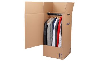 Cardboard box for hanging clothes with the crossbar for hangers