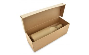 Horizontal bottle gift box with insert made of micro corrugated cardboard