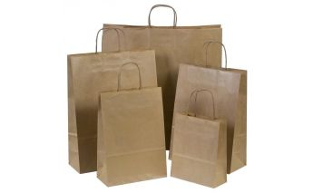 Brown Twist bags made of  Kraft paper with rotary paper handles