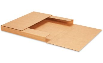 Flat cardboard box with adjustable height