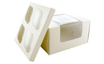 Коробка для кексиков с поддоном и прозрачной крышкой