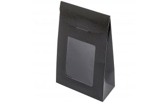 Vertikaalne läbipaistva aknaga karp on valmistatud vastupidavast paberist